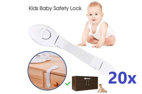 20X Child Kids Baby Safety Lock For Door Drawers Cupboard Cabinet Adhesive