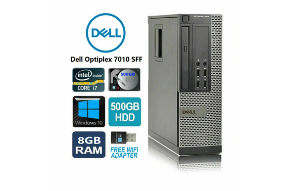 Refurbished Dell 7010 SFF i7 Desktop PC with Free USB Wifi Adapter