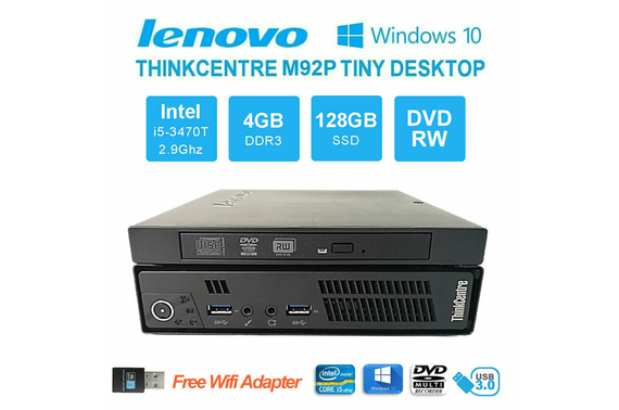 Refurbished Lenovo ThinkCentre M92p Tiny Desktop PC Core i5-3470T 4GB 128GB SSD Win10 Pro