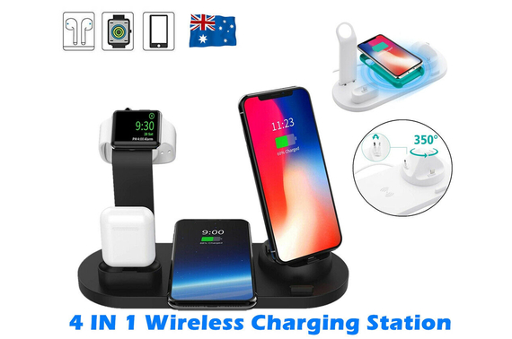 4in1Qi Wireless Charger Fast Charging Dock station Fr Airpods Apple Watch iPhone WT