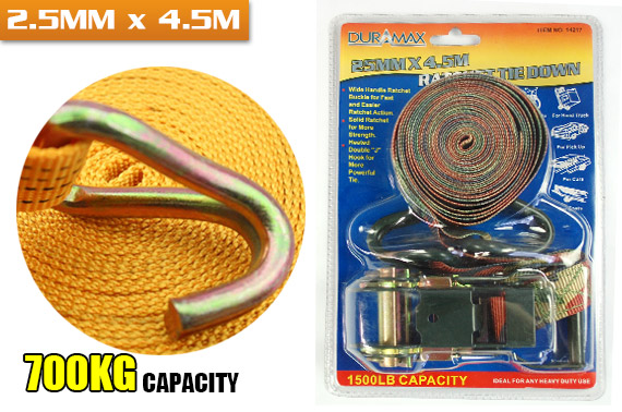 Super Deal: Heavy Duty 4.5m Ratchet Tie Down, 700kg Lashing Capacity