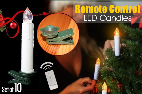 Set of 10 Multi-function Electronic Remote Control LED Candles
