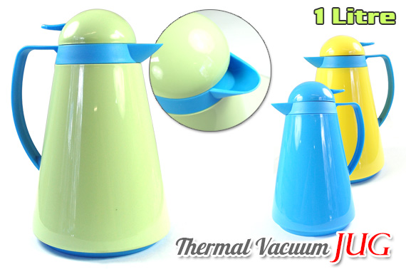 1 Litre Double Glass Thermal Insulated Vacuum Jug - Random Colour