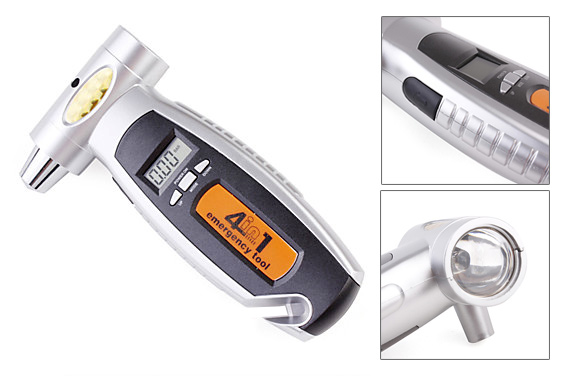 4-in-1 Emergency Car Tool / Tire Pressure Gauge with LCD Display