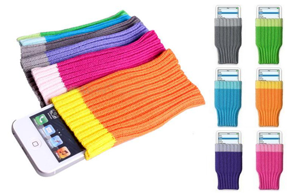 FREE Ozstock Day: 3x Soft Knitting Sock Pouch for iPhone/iPod/small Mobile Phone/MP3/MP4/DC