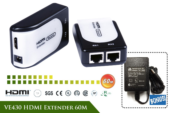 HDMI Extender 60M with Bonus Power Adapter