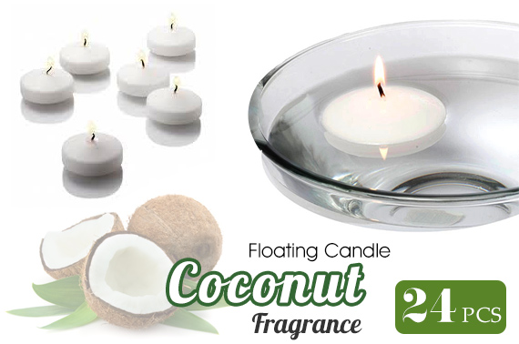 24x Muller Kerzen Scented Floating Candles - Coconut Fragrance