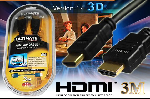 FREE Ozstock Day: 3M Gold 1080p HDMI Cable Version 1.4