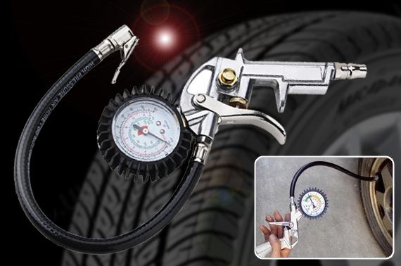 Pistol Grip Tyre Inflator and Pressure Gauge Kit (220 PSI)