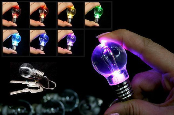 10x LED Colour Changing Bulb Keyring Flashlight