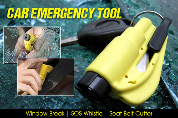 3-in-1 Car Emergency Tool (Window Break/SOS Whistle/Seat Belt Cutter) with Keychain
