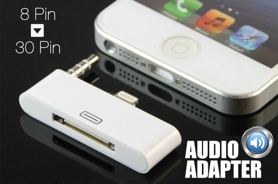 8 Pin to 30 Pin Audio Charger Adapter for iPhone 5/5S & iPod Touch 5