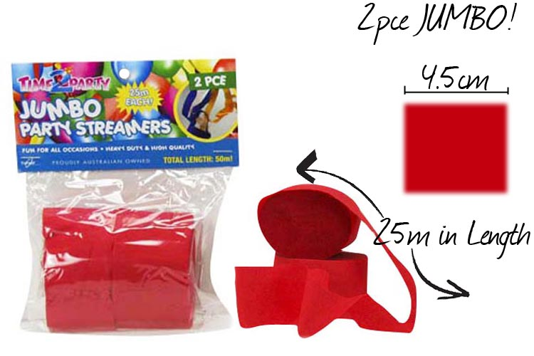 2x 2pc Jumbo Party Streamer - Red