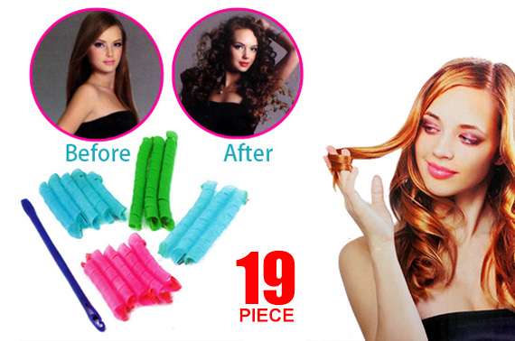 Magic Leverag Hair Curlers for Spiral Curls (19 Pieces)