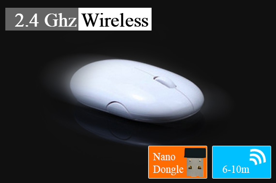 2.4Ghz Wireless Mouse with Snap-in Nano Transmitter Dongle