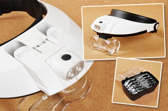 Head-Mounted Magnifier with 2 LED Lights
