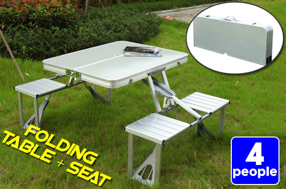 Outdoor Aluminium Portable Folding Picnic Table w/ 4 Chairs