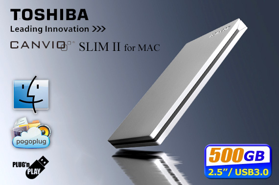 Toshiba Canvio Slim II for Mac 500GB Portable USB 3.0 External Hard Drive