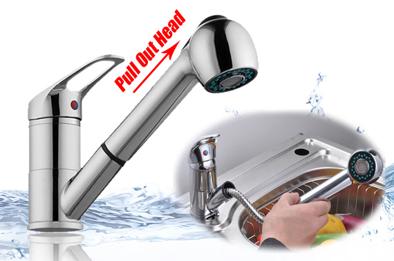Kitchen Chrome Mixer Tap with Pull Out Head