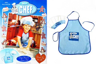 FREE Ozstock Day: Junior Chef Apron & Hat Pack ,Blue for Boys