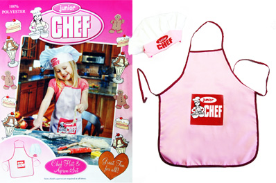 FREE Ozstock Day: Junior Chef Apron & Hat Pack ,Pink  for Girls