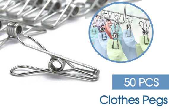 50X Stainless Steel Clothes Pegs Hanging Clips Pins Laundry Windproof Clamp QTY 50 Pcs
