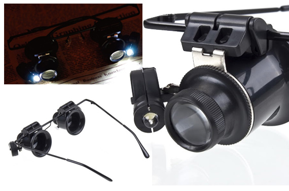 Binocular 20x Magnifiers with LED Lights