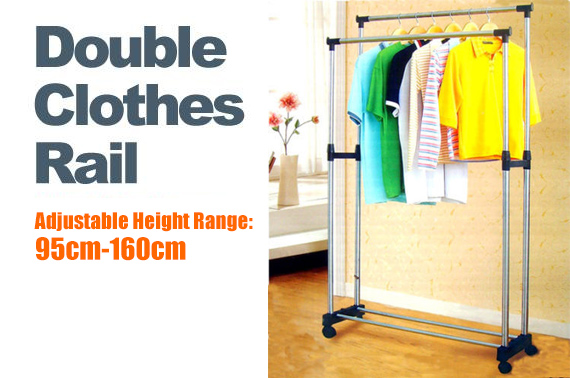 Portable Double Rail Clothes Rack
