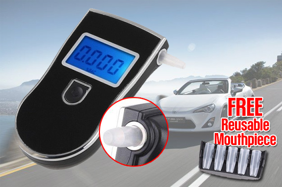 High Precision Digital Breath Alcohol Tester with 5 Mouthpieces