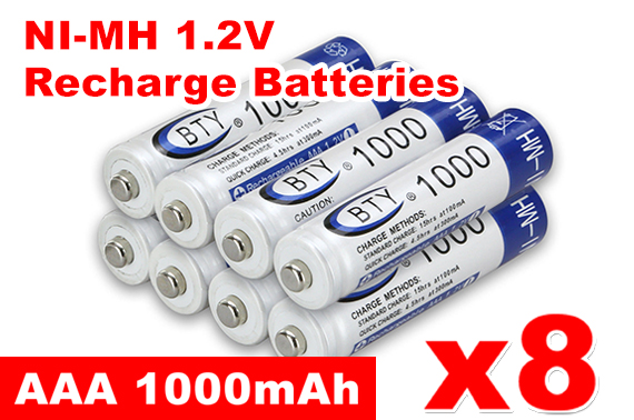 8x 1000mAh AAA NI-MH 1.2V Rechargeable Battery