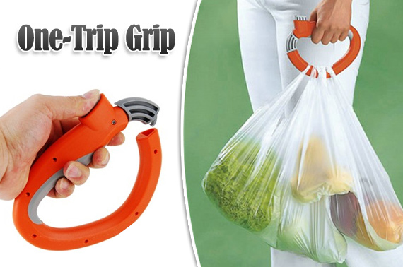 Multifunctional One-Trip Grip Grocery Bag Holder with Self-locking Thumb Tab