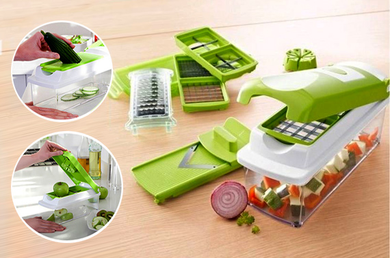Quality Veggie Slicer Dicer Plus - Vegetable Fruit Slicer/Cutter with Container and Chopper Peeler