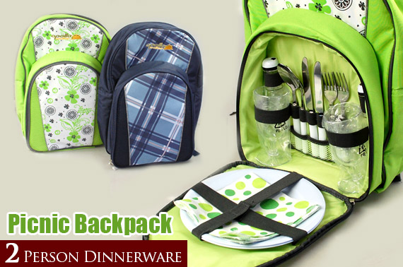 Super Deal: QUALITY Apollo Walker Picnic Backpack with 2 Person Dinnerware (Random Colour)