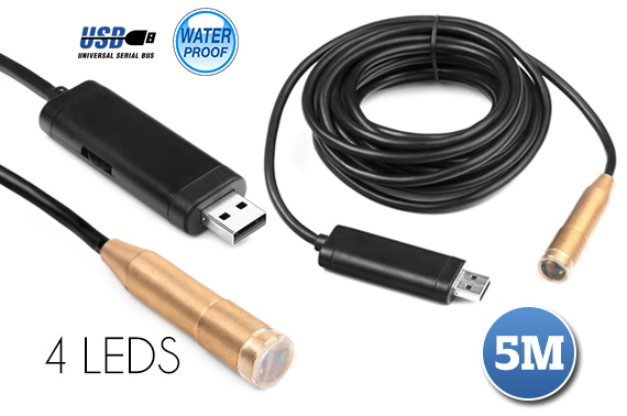 5m Waterproof USB Endoscope Camera with 4 LEDs