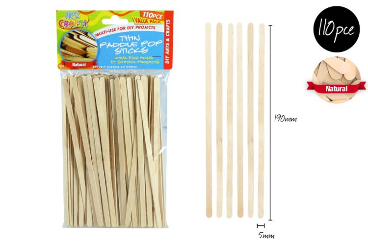 110pc Thin Paddle Pop Sticks - 19cm - Assorted Colours