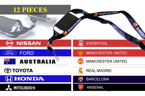 FREE Ozstock Day: 12x Mobile Phone / MP3 Neck Strap with European Football Club Logos or Car Brands