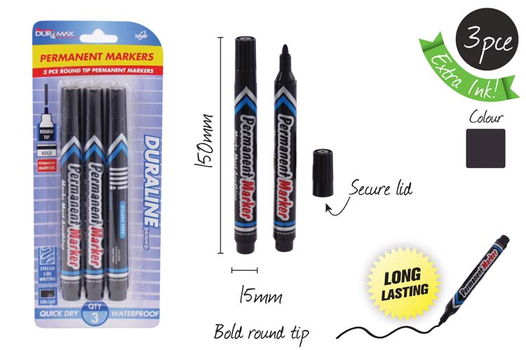 3pk Black Permanent Markers