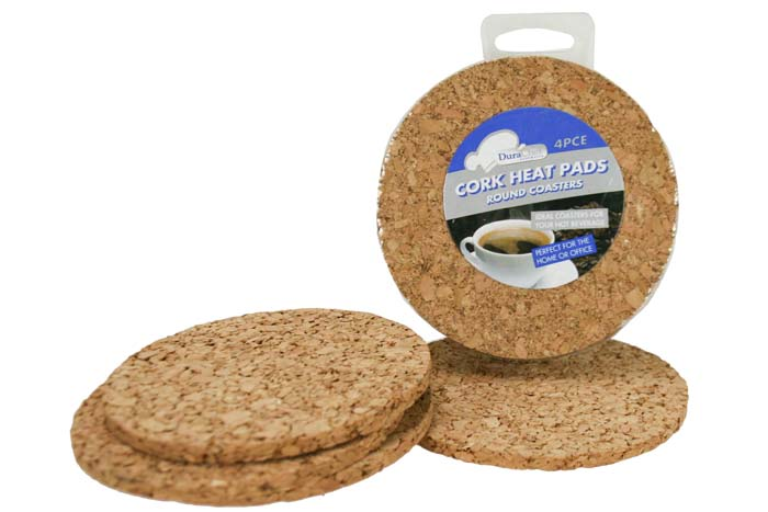 4pc Cork Heat Pad - Round Coasters