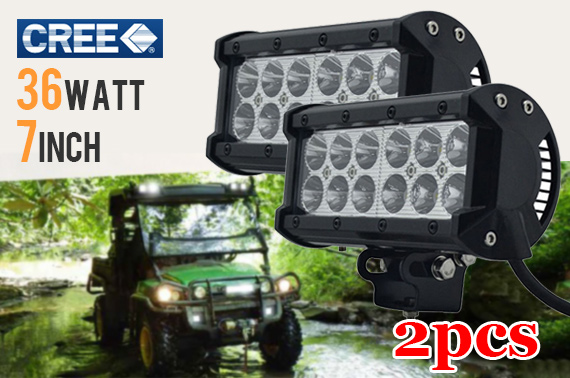 2x 7inch 36W CREE LED Flood Light Bar