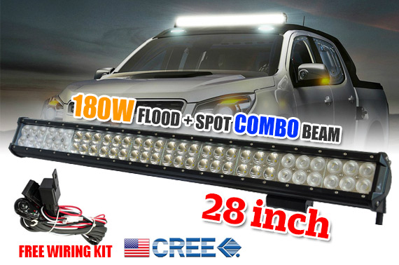 28inch 180W CREE LED Working Light Bar - Flood/Spot Combo Beam