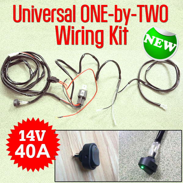 Universal ONE-by-TWO Wiring Kit 14V 40A Switch Relay for LED Light Bar