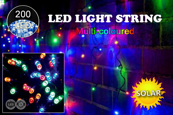 Solar Powered 200-LED Multi-coloured Party Light String