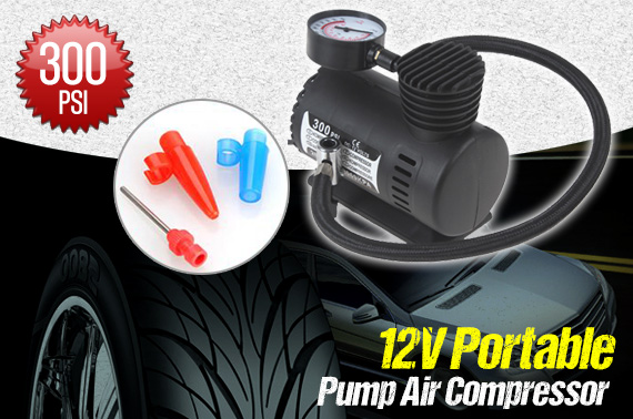 300PSI 12V Portable Electric Air Pump for Cars