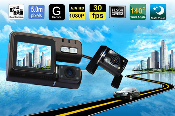 HD 1080P Dual Lens Car Crash Camera with Remote Control