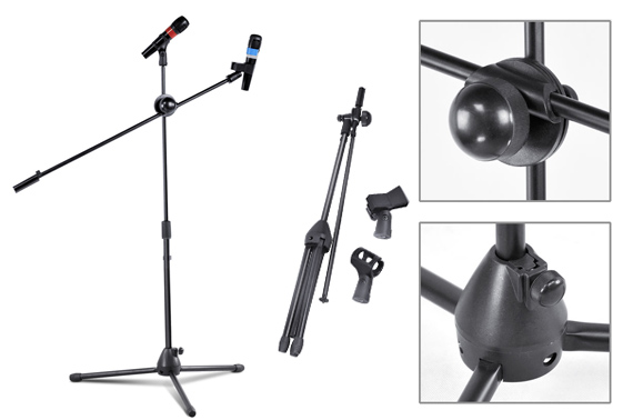 Adjustable Telescopic Boom Microphone Stand - Two Mic Holders