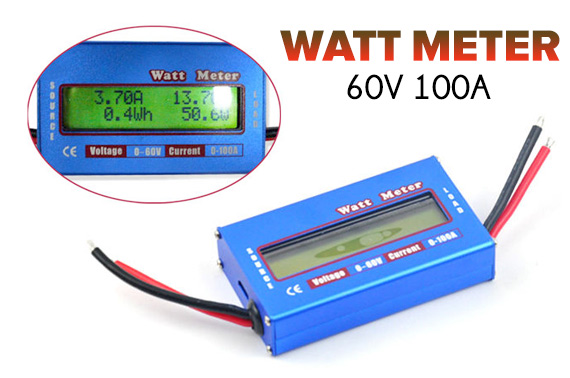 Digital LCD Display Watt Meter 60V 100A