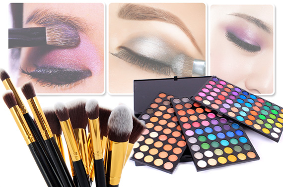 10 Piece Makeup Brushes + 180 Colour Eyeshadow Palette Cosmetic Set