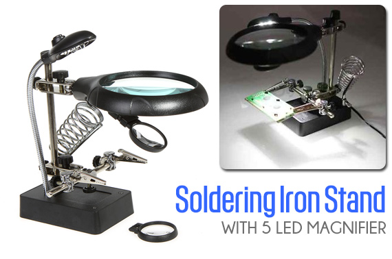 Helping Hand Soldering Iron Stand with 5 LED Magnifier