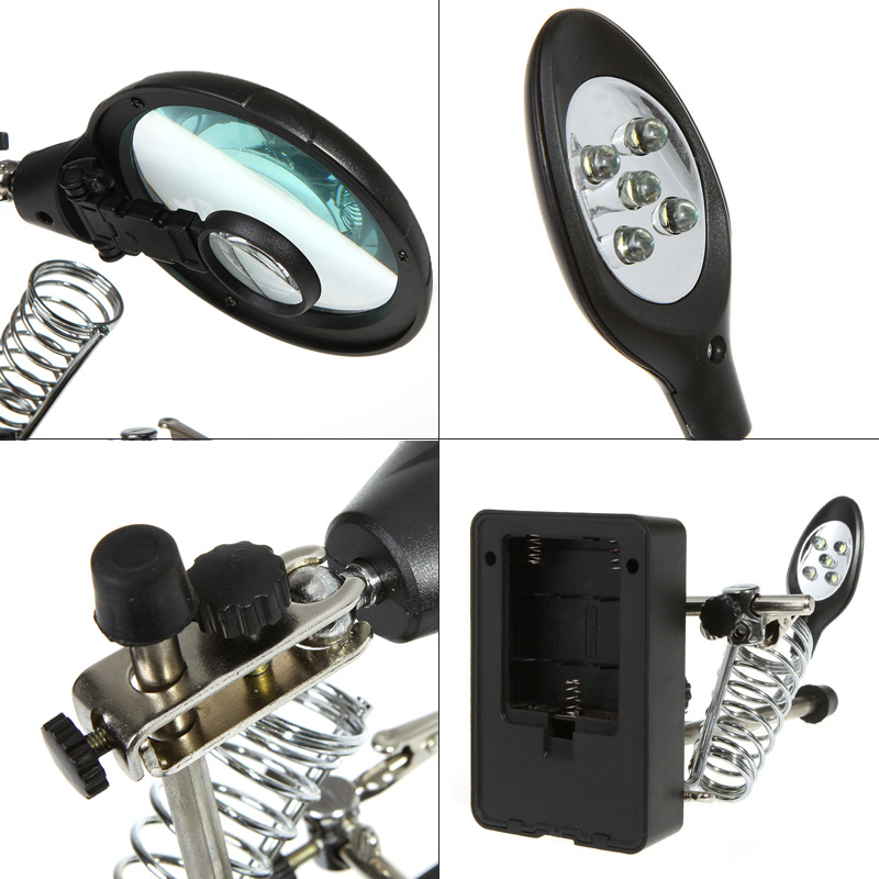 helping hand soldering iron stand with 5 led magnifier. Black Bedroom Furniture Sets. Home Design Ideas