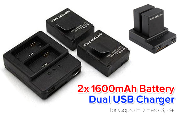 2x 1600mAh Battery + Dual USB Charger for GoPro Cameras